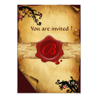 MAGIC SWIRLS PARCHMENT AND RED WAX SEAL MONOGRAM CARD