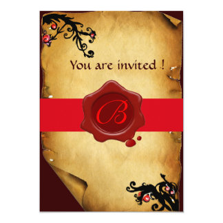 MAGIC SWIRLS PARCHMENT AND RED WAX SEAL MONOGRAM 5X7 PAPER INVITATION CARD