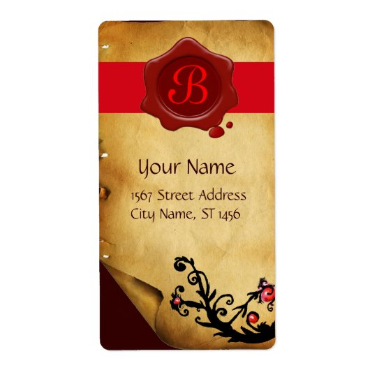 MAGIC SWIRLS PARCHMENT AND RED WAX SEAL MONOGRAM LABEL