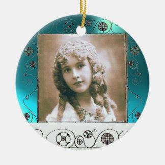 MAGIC SWIRLS PHOTO TEMPLATE ,Blue Aquamarine Ceramic Ornament