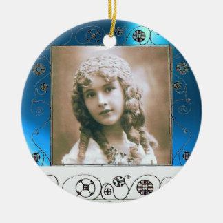 MAGIC SWIRLS PHOTO TEMPLATE , Blue Sapphire Ceramic Ornament