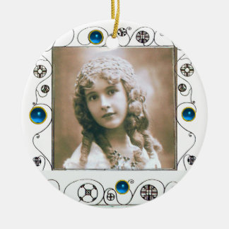 MAGIC SWIRLS PHOTO TEMPLATE , Blue Sapphire Double-Sided Ceramic Round Christmas Ornament