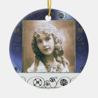 MAGIC SWIRLS PHOTO TEMPLATE ,Blue Topaz Double-Sided Ceramic Round Christmas Ornament