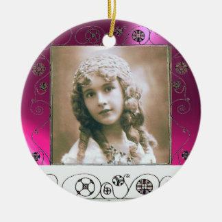 MAGIC SWIRLS PHOTO TEMPLATE ,Fuchsia Pink Amethyst Ceramic Ornament