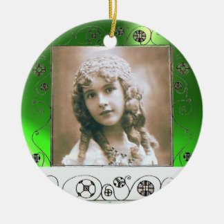 MAGIC SWIRLS PHOTO TEMPLATE ,Green Emerald Ceramic Ornament