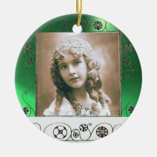 MAGIC SWIRLS PHOTO TEMPLATE ,Green Jade Ceramic Ornament