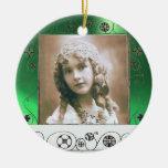 MAGIC SWIRLS PHOTO TEMPLATE ,Green Jade Double-Sided Ceramic Round Christmas Ornament