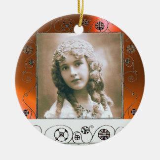 MAGIC SWIRLS PHOTO TEMPLATE ,Orange Agate Ceramic Ornament