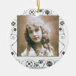 MAGIC SWIRLS PHOTO TEMPLATE , Pink Red Ruby Ceramic Ornament