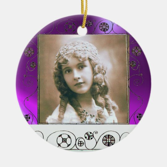 MAGIC SWIRLS PHOTO TEMPLATE , Purple Amethyst Ceramic Ornament