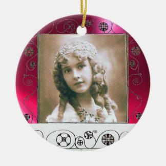 MAGIC SWIRLS PHOTO TEMPLATE , Red Pink Ruby Ceramic Ornament