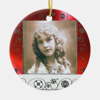 MAGIC SWIRLS PHOTO TEMPLATE , Red Ruby Ceramic Ornament