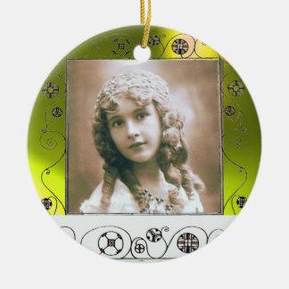 MAGIC SWIRLS PHOTO TEMPLATE , Yellow Topaz Ceramic Ornament