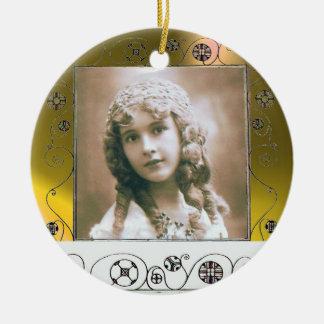 MAGIC SWIRLS PHOTO TEMPLATE , Yellow Topaz Double-Sided Ceramic Round Christmas Ornament