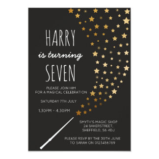 Magic themed birthday party invitation