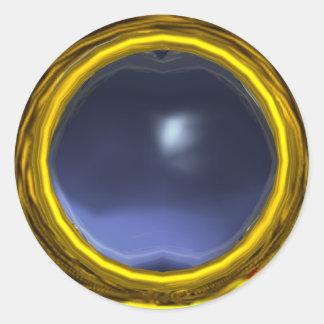 MAGIC TOPAZ , bright vibrant blue yellow Classic Round Sticker