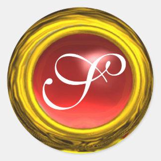 MAGIC TOPAZ , bright vibrant pink red yellow Classic Round Sticker