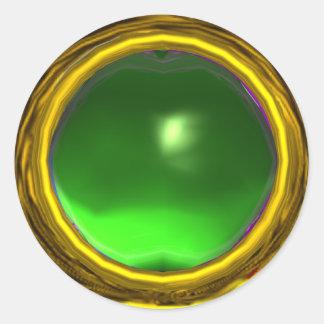 MAGIC TOPAZ , bright vibrant yellow green Classic Round Sticker