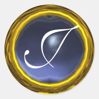 MAGIC TOPAZ MONOGRAM bright vibrant  yellow blue Stickers