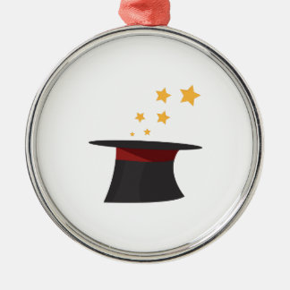 Magic Tophat Round Metal Christmas Ornament