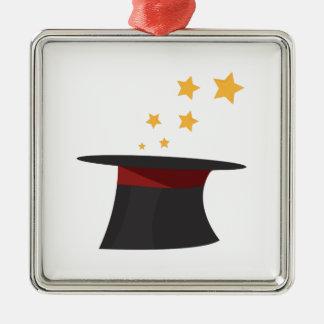 Magic Tophat Square Metal Christmas Ornament