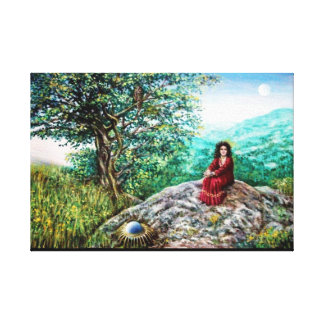 MAGIC TREE / Dawn In Green Wood and Lady in Red Canvas Print