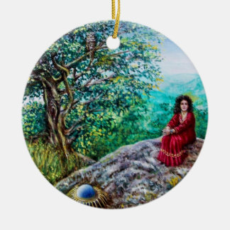 MAGIC TREE / Dawn In Green Wood and Lady in Red Ceramic Ornament