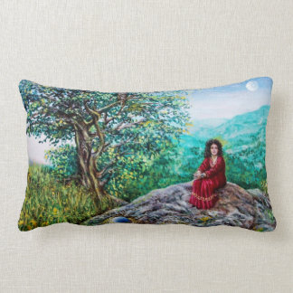 MAGIC TREE / Dawn In Green Wood and Lady in Red Lumbar Pillow