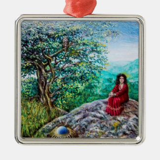MAGIC TREE / Dawn In Green Wood and Lady in Red Metal Ornament