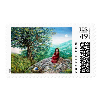 MAGIC TREE / Dawn In Green Wood and Lady in Red Postage
