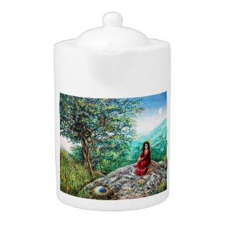 MAGIC TREE / Dawn In Green Wood and Lady in Red Teapot