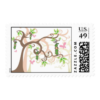 Magic Trees Baby Girl in a Pod Announcement / RSVP Stamp