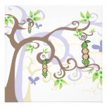 Magic Trees Twins Girl Boy Peas in Pod Baby Shower Personalized Announcements
