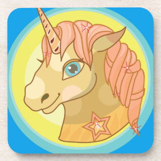 Magic Unicorn cartoon baby fantasy illustration Beverage Coaster