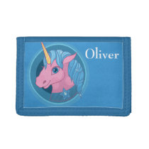 Magic Unicorn cartoon baby illustration Cute horse Tri-fold Wallet