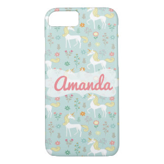 Magic Unicorn Pattern, Blue iPhone 8/7 Case