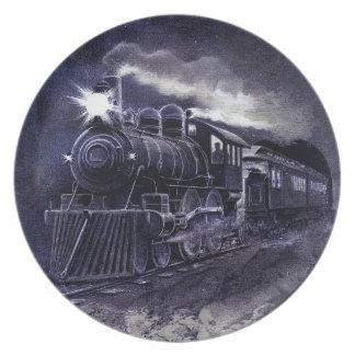 Magic Victorian Train Steam Engine Dinnerware Dinner Plates