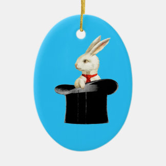 magic vintage top hat rabbit Double-Sided oval ceramic christmas ornament