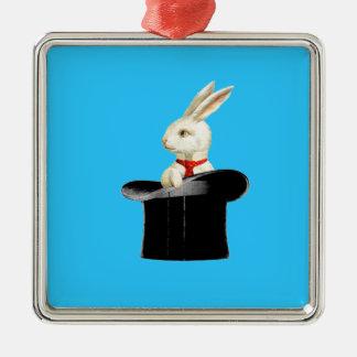 magic vintage top hat rabbit square metal christmas ornament