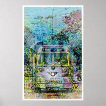 artsprojekt, magic, vintage, tramway, market, san, francisco, Cartaz/impressão com design gráfico personalizado