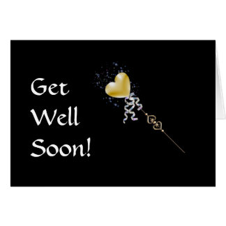 Magic Wand Get Well Greeting Card gold heart