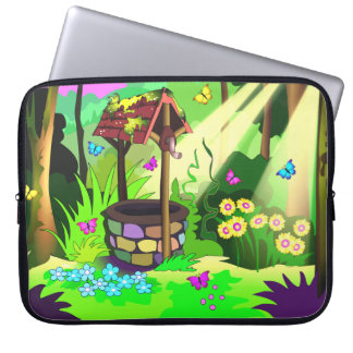 Magic Wishing Well Butterflies Forest Flowers Laptop Sleeve