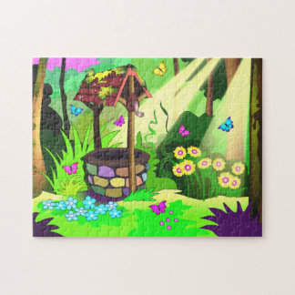 Magic Wishing Well Butterflies Sunny Forest Art Jigsaw Puzzle