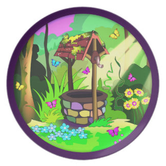 Magic Wishing Well Butterfly Forest Circle Design Plates
