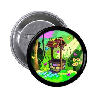 Magic Wishing Well Circle Design Black Border Pinback Button
