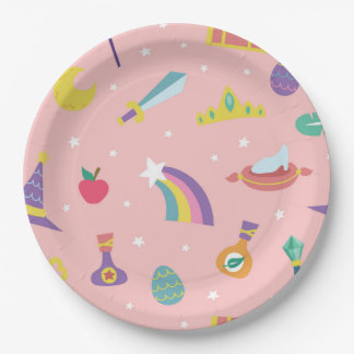 MAGIC WIZARD FAIRY TALE ELEMENTS pink background Paper Plate