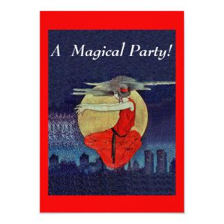 Magic Woman Floating Moon Night Sky Samhain Party Card