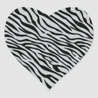 Magic Zebra Stripes Click to Customize Grey Color Heart Sticker