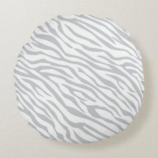 Magic Zebra Stripes Click to Customize Grey Color Round Pillow
