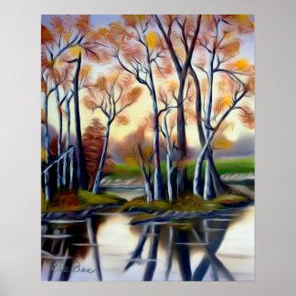 Magical Birch Bay Lagoon Art Poster